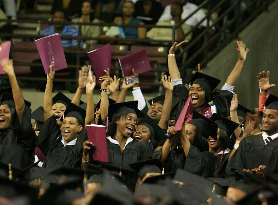 Texas needs more scenes like this. Graduating students in the Department of Science and Technology cheer as the university president introduces the college to the audience during the Texas Southern University commencement ceremony in 2008. Photo: Houston Chronicle File Photo / Houston Chronicle