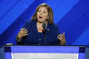 FILE - In this July 25, 2016 file photo, Rep. Linda Sanchez, D-Calif., speaks during the first day of the Democratic National Convention in Philadelphia. Sanchez says it�s time for House Minority Leader Nancy Pelosi and other veteran leaders to make way for a new generation of Democratic leaders. She said she�d like to be a part of that transition. Sanchez is the fifth-highest ranking House Democrat. Her comments were the strongest challenge yet by a Democratic leader to Pelosi�s iron grip on the caucus.  (AP Photo/J. Scott Applewhite)
