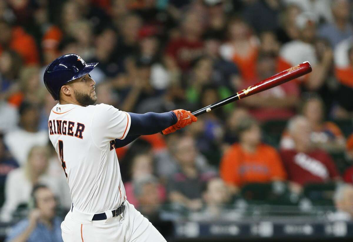 Springer hit a home run in the third inning against the Angels in a 5-2 Astros loss.