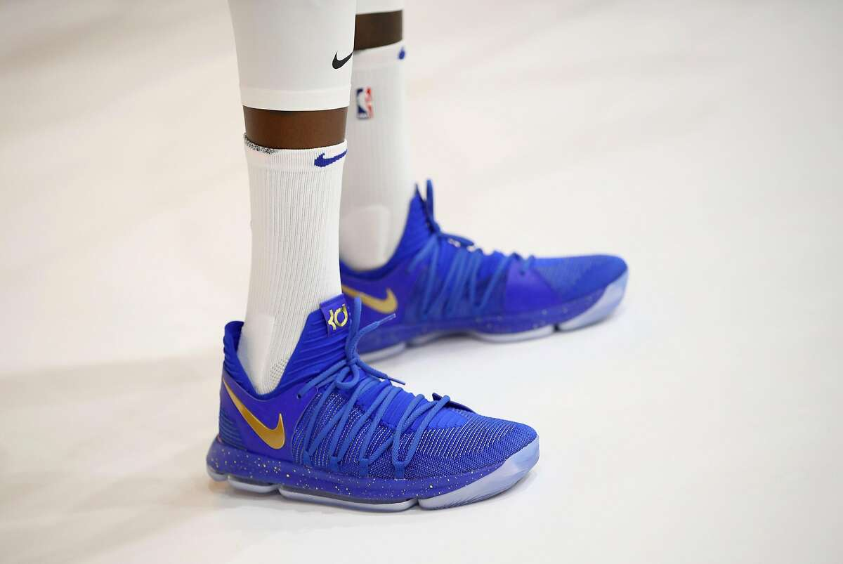 A close up of the Nike shoes worn by Kevin Durant during the Golden State Warriors media day.