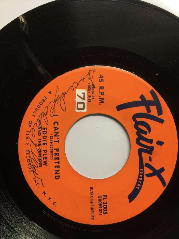 """The Flair-X record with Eddie Plew's recording of """"I Can't Pretend."""" On it, is a signature he put on the record some 60-odd years ago. (Provided by Eddie Plew)"""