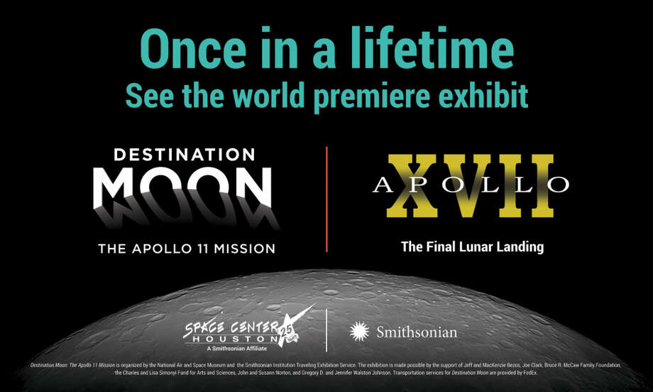 """Only at Space Center Houston will guests experience the command modules from the first and last lunar landings, together under the same roof for the first time. The world premiere of """"Destination Moon: The Apollo 11 Mission"""" opens Oct. 14 at the center, which is the home of the Apollo 17 command module. These two awe-inspiring exhibits appearing at the same time culminate Space Center Houston's yearlong jubilee celebration, right before the center celebrates 25 years on Oct. 16. Houston is where the Apollo astronauts lived and trained for their missions."""