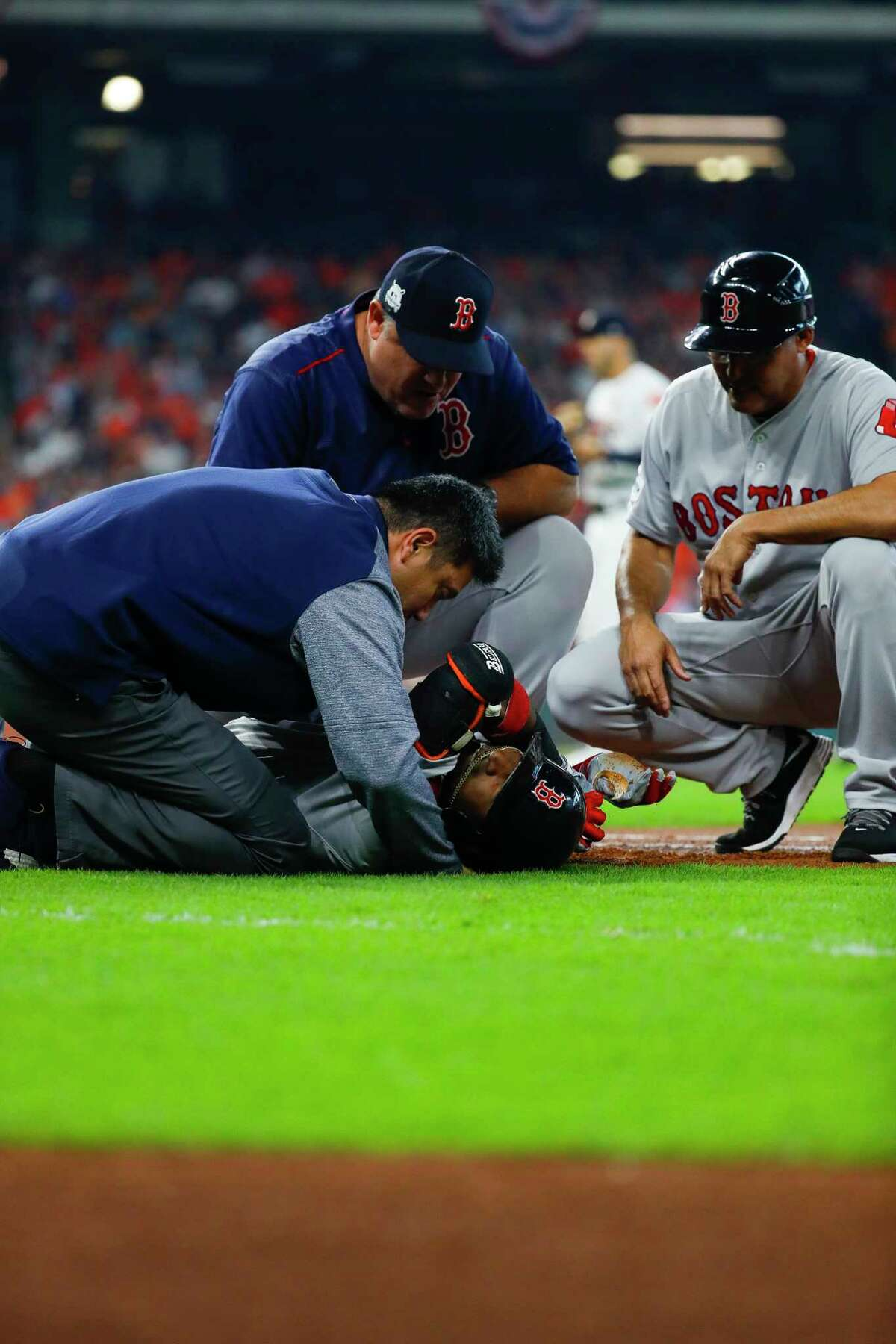 Boston Red Sox second baseman Eduardo Nunez is hurt during the first inning of Game 1 of the ALDS at Minute Maid Park on Tuesday, Oct. 3, 2017, in Houston.