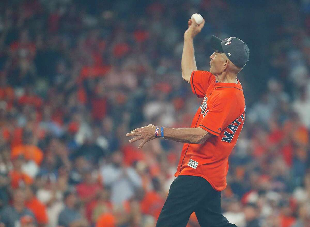 Mattress Mac, Jim McIngvale, throws out the ceremonial first pitch before Game 1 of the ALDS at Minute Maid Park on Tuesday, Oct. 3, 2017, in Houston.