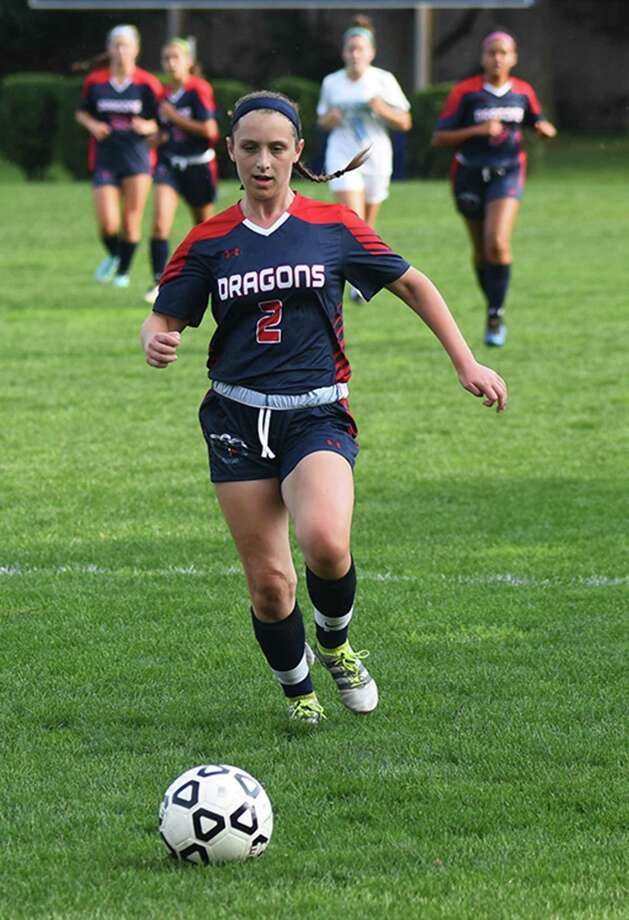 GFA girls soccer player Charlotte Cohen, a resident of Westport, closes in on the ball during a game earlier this season.