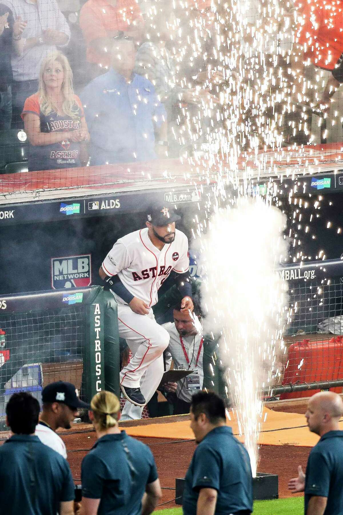 Houston Astros left fielder Marwin Gonzalez runs onto the field before the Houston Astros take on the Boston Red Sox during the first game of the American League Divisional Series at Minute Maid Park Thursday, Oct. 5, 2017 in Houston.
