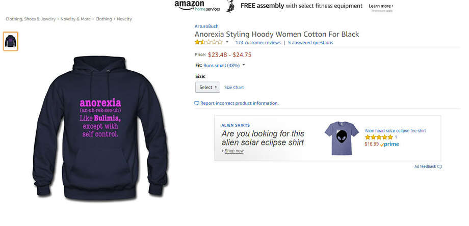 Amazon is under fire for allowing a vendor to sell an offensive anorexia sweater on its website.>> See other major business mistakes, blundersPhoto: Amazon.com