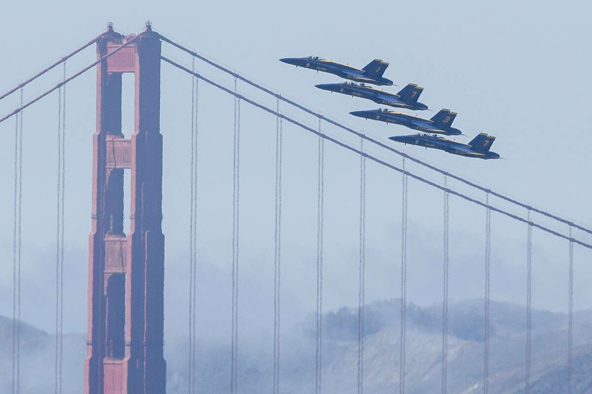 The Blue Angels fly past the Golden Gate Bridge on Thursday, Oct. 5, 2017, in San Francisco, Calif. The U.S. Navy Blue Angels practiced their aerial maneuvers and patterns for their upcoming Fleet Week airshow.
