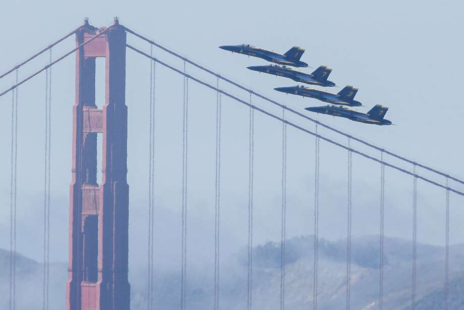 The Blue Angels fly past the Golden Gate Bridge on Thursday, Oct. 5, 2017, in San Francisco, Calif. The U.S. Navy Blue Angels practiced their aerial maneuvers and patterns for upcoming Fleet Week airshows. Photo: Santiago Mejia, The Chronicle