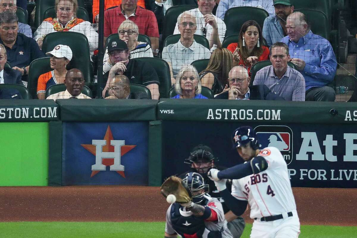 PHOTOS: Shots of the three Hall of Famers sitting behind home plate at the Astros game Nolan Ryan, Jef Bagwell and Craig Biggio watch as the Houston Astros take on the Boston Red Sox during the third inning of the first game of the American League Divisional Series at Minute Maid Park Thursday, Oct. 5, 2017 in Houston.