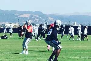 Derek Carr participates in Raiders practice