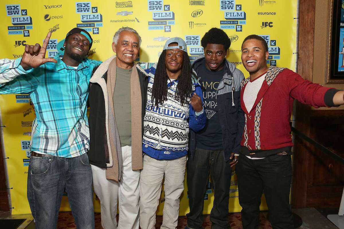 """AUSTIN, TX - MARCH 09: (L-R) Actors Les """"DJ Upgrade"""" Aderibigbe, William Pulliam, Koran Streets, Stanley Hunt and Devon Libran pose in the greenroom at the screening of """"Licks"""" during the 2013 SXSW Music, Film + Interactive Festival at Alamo Ritz on March 9, 2013 in Austin, Texas. (Photo by Mindy Best/Getty Images for SXSW)"""