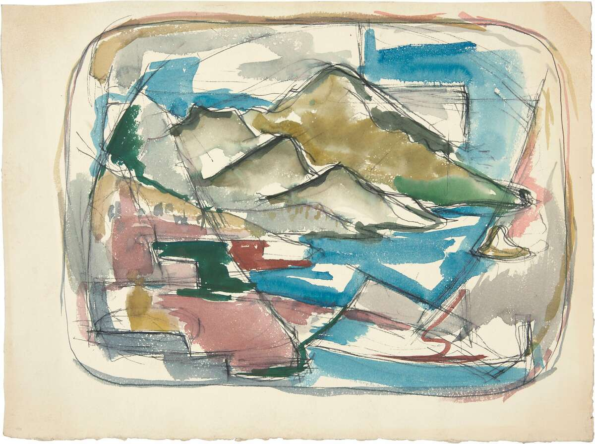 Richard Diebenkorn, Untitled (c. 1945), watercolor on paper mounted on cardboard