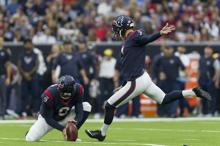 HOUSTON, TX - OCTOBER 01:  Ka'imi Fairbairn #7 of the Houston Texans kicks a field goal in the first half against the Tennessee Titans at NRG Stadium on October 1, 2017 in Houston, Texas.  (Photo by Tim Warner/Getty Images) Photo: Tim Warner/Getty Images