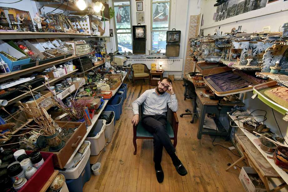 Syrian-born artist and architect Mohamad Hafez at his studio at 909 Whalley Ave. in New Haven on Sept. 28. Photo: Catherine Avalone / Hearst Connecticut Media / New Haven Register