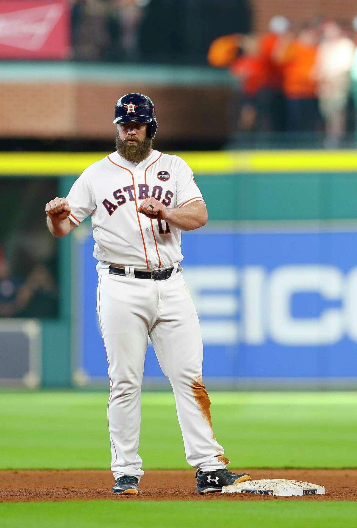 Astros catcher Evan Gattis is the designated hitter for Monday's ALDS game in Boston.