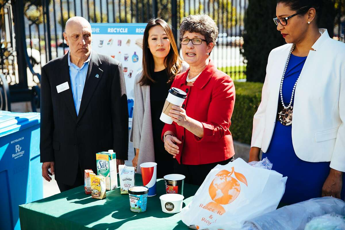 Debbie Raphael, Director of the San Francisco Department of the Environment, talks about the new items that are now accepted in the recycling bins in San Francisco, Calif. Thursday, October 5, 2017.