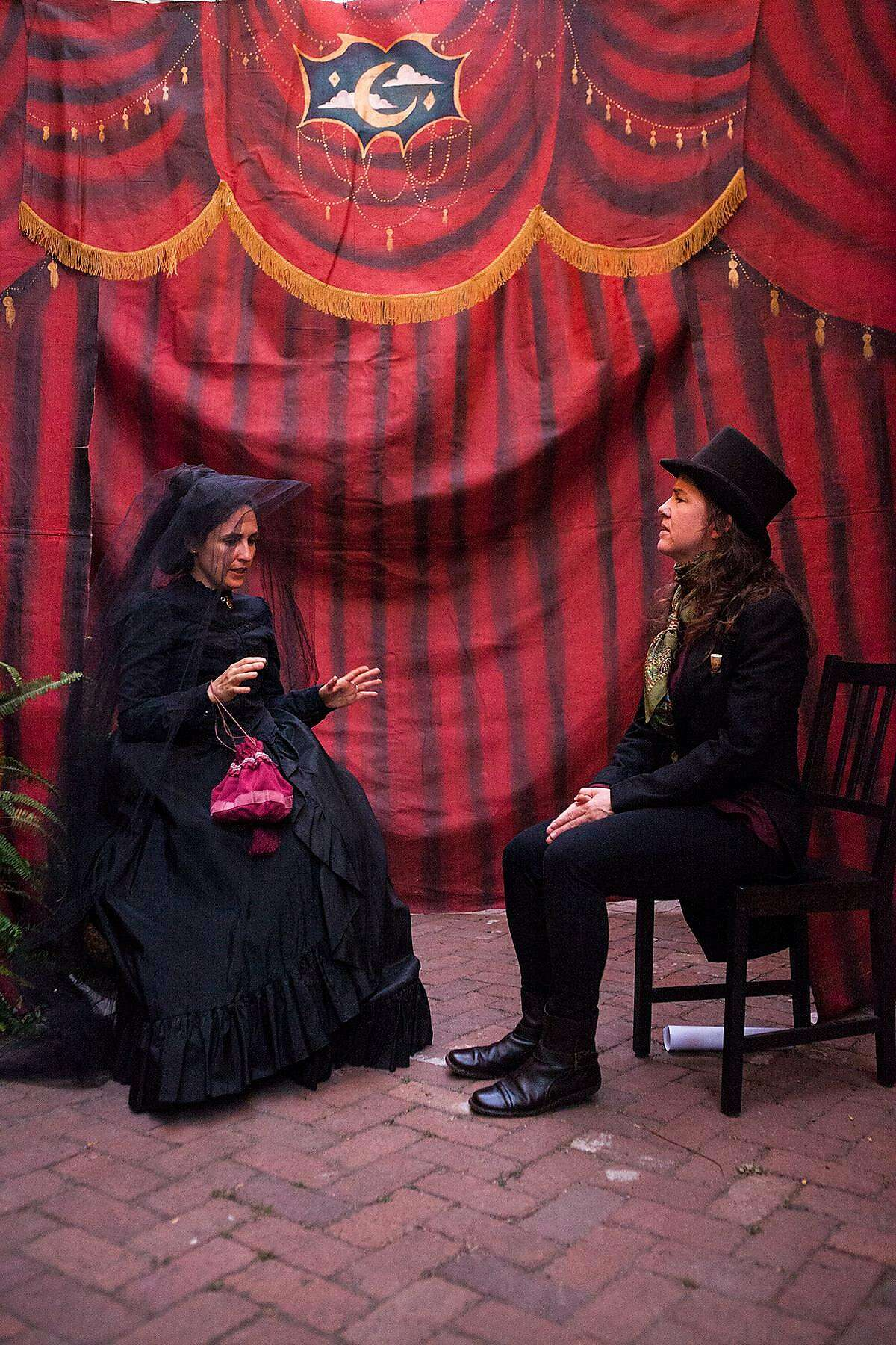 From left: Maria A. Leigh as Josephine and�Julie Douglas as the Seller, Doctor Vitae, in Idiot String's