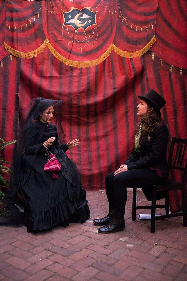 """From left: Maria A. Leigh as Josephine andJulie Douglas as the Seller, Doctor Vitae, in Idiot String's """"Elixir of Life."""" Photo: Serena Morelli, Idiot String"""
