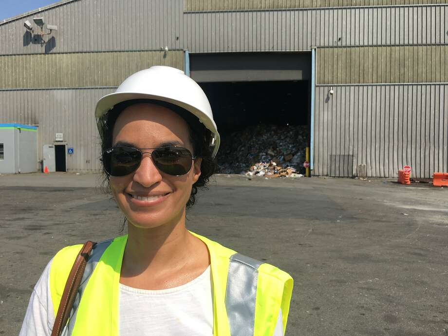 Columnist Caille Millner prepares to enter Recology's recycling plant at Pier 96 in San Francisco Photo: Caille Millner, The Chronicle