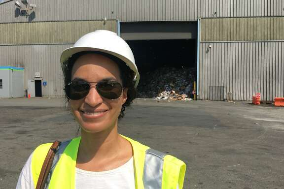 Columnist Caille Millner prepares to enter Recology's recycling plant at Pier 96 in San Francisco