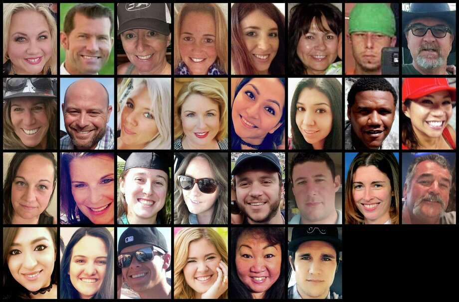 This photo combination shows some of the victims of the mass shooting that occurred at a country music festival in Las Vegas on Sunday, Oct. 1, 2017. Top row from left are: Heather Warino Alvarado, Steven Berger, Denise Burditus, Sandy Casey, Andrea Castilla, Denise Cohen, Austin Davis and Tom Day Jr. Second row from left are: Stacee Etcheber, Brian Fraser, Keri Lynn Galvan, Dana Gardner, Angie Gomez, Rocio Guillen, Charleston Hartfield and Nicol Kimura. Third row from left are: Jessica Klymchuk, Rhonda LeRocque, Kelsey Meadows, Calla Medig, Sonny Melton, Adrian Murfitt, Rachael Parker and John Phippen. Bottom row from left are: Melissa Ramirez, Jordyn Rivera, Quinton Robbins, Bailey Schweitzer, Laura Shipp and Brennan Stewart. (AP Photo) Photo: HONS / Various Sources