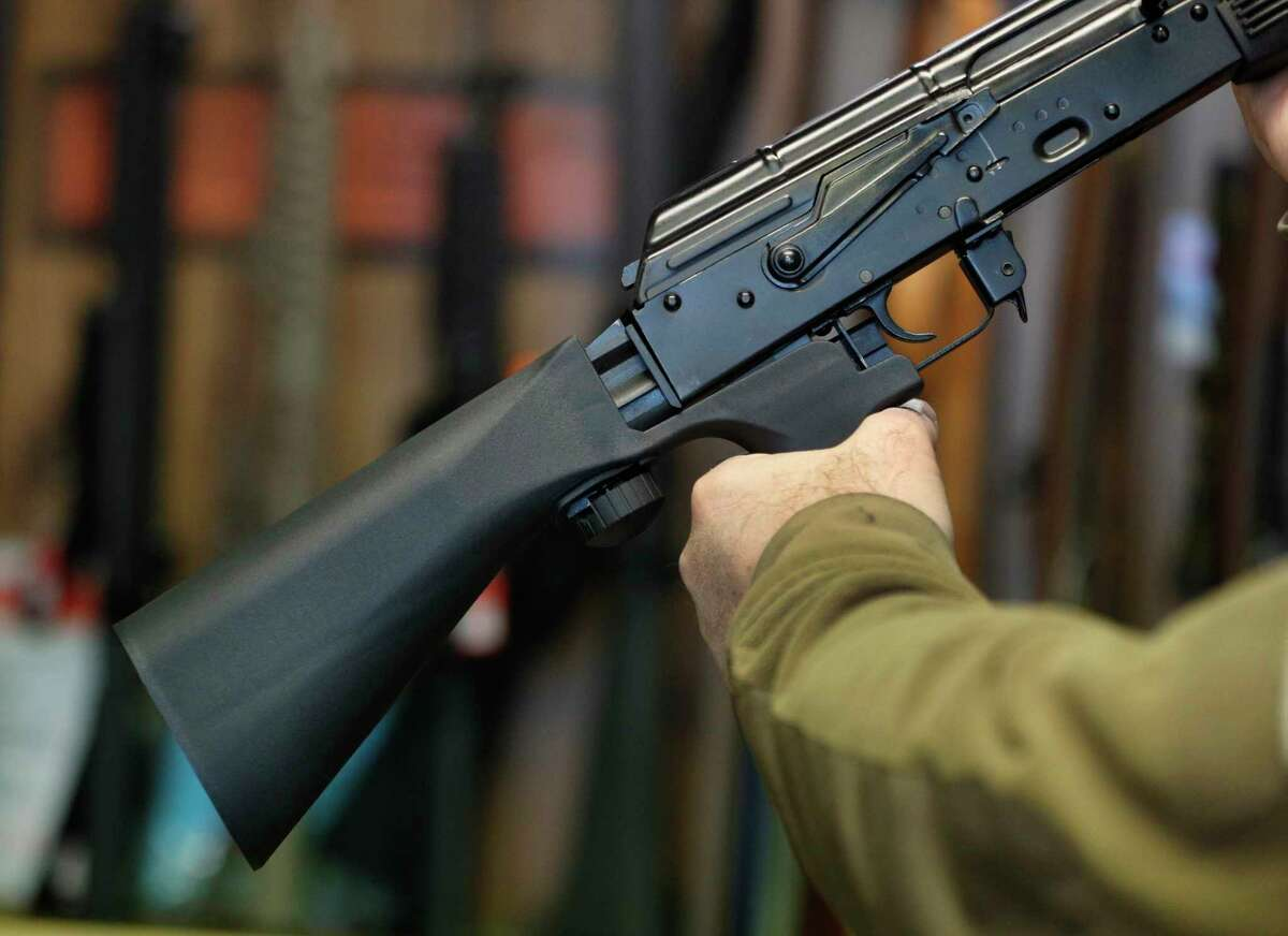 """A """"bump stock"""" device fits on a semi-automatic rifle to make it similar to a fully automatic rifle."""