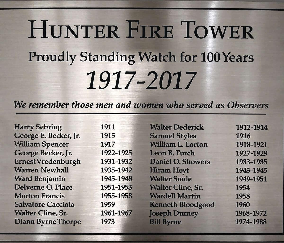 The Hunter Mountain Fire Tower Observer plaque. (Courtesy of Gordon Hoekstra)