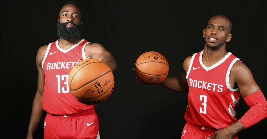 PHOTOS: How Rockets players spent their offseasonHouston Rocket's James Harden (13) and Chris Paul (3) during  media day on Monday, Sept. 25, 2017, in Houston. ( Elizabeth Conley / Houston Chronicle )Browse through the photos to see how the Rockets spent their offseason. Photo: Elizabeth Conley/Houston Chronicle