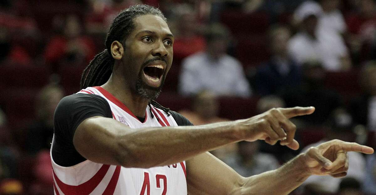 Houston Rockets center Nene Hilario reacts after a playduring second half of NBA game action against the Orlando Magic at Toyota Center Tuesday, Feb. 7, 2017, in Houston. ( James Nielsen / Houston Chronicle )