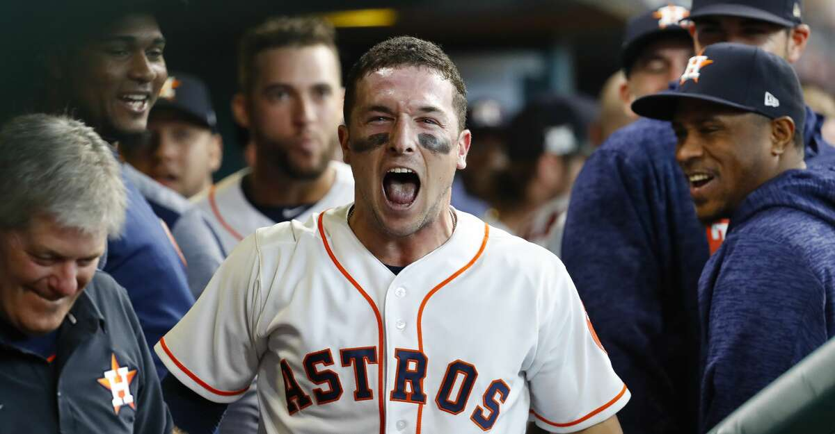 Houston Astros third baseman Alex Bregman celebrates his first inning home run during Game 1 of the ALDS at Minute Maid Park on Tuesday, Oct. 3, 2017, in Houston. ( Karen Warren / Houston Chronicle )