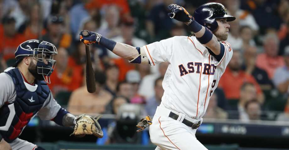 PHOTOS: Astros 8, Red Sox 2Houston Astros right fielder Josh Reddick hits a single during the fourth inning of Game 1 of the ALDS at Minute Maid Park on Thursday, Oct. 5, 2017, in Houston. ( Karen Warren / Houston Chronicle )Browse through the photos to see action from the Astros' Game 1 win over the Red Sox. Photo: Karen Warren/Houston Chronicle