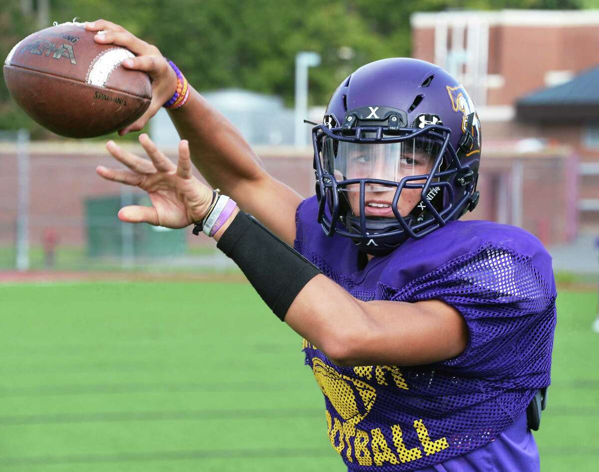 Troy High quarterback Joe Casale during practice Thursday August 31, 2017 in Troy, NY. (John Carl D'Annibale / Times Union)