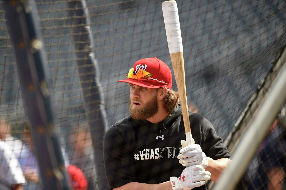Washington Nationals' Bryce Harper stands in the batting cage during practice at Nationals Park, Thursday, Oct. 5, 2017, in Washington. Game 1 of the National League Division Series against the Chicago Cubs is on Friday. (AP Photo/Nick Wass) ORG XMIT: NAT111