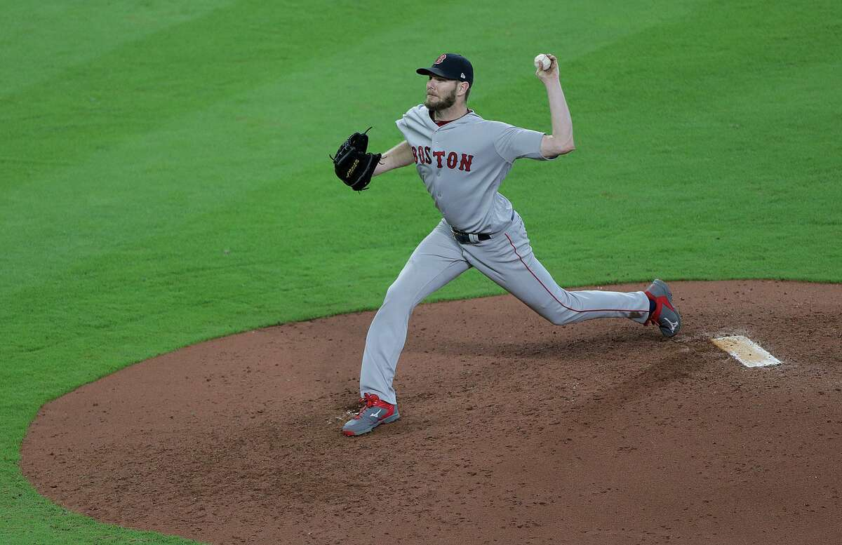 Boston Red Sox starting pitcher Chris Sale pitches against the Houston Astros during the ALDS Game 1 at Minute Maid Park on Thursday, Oct. 5, 2017, in Houston. ( Elizabeth Conley / Houston Chronicle )
