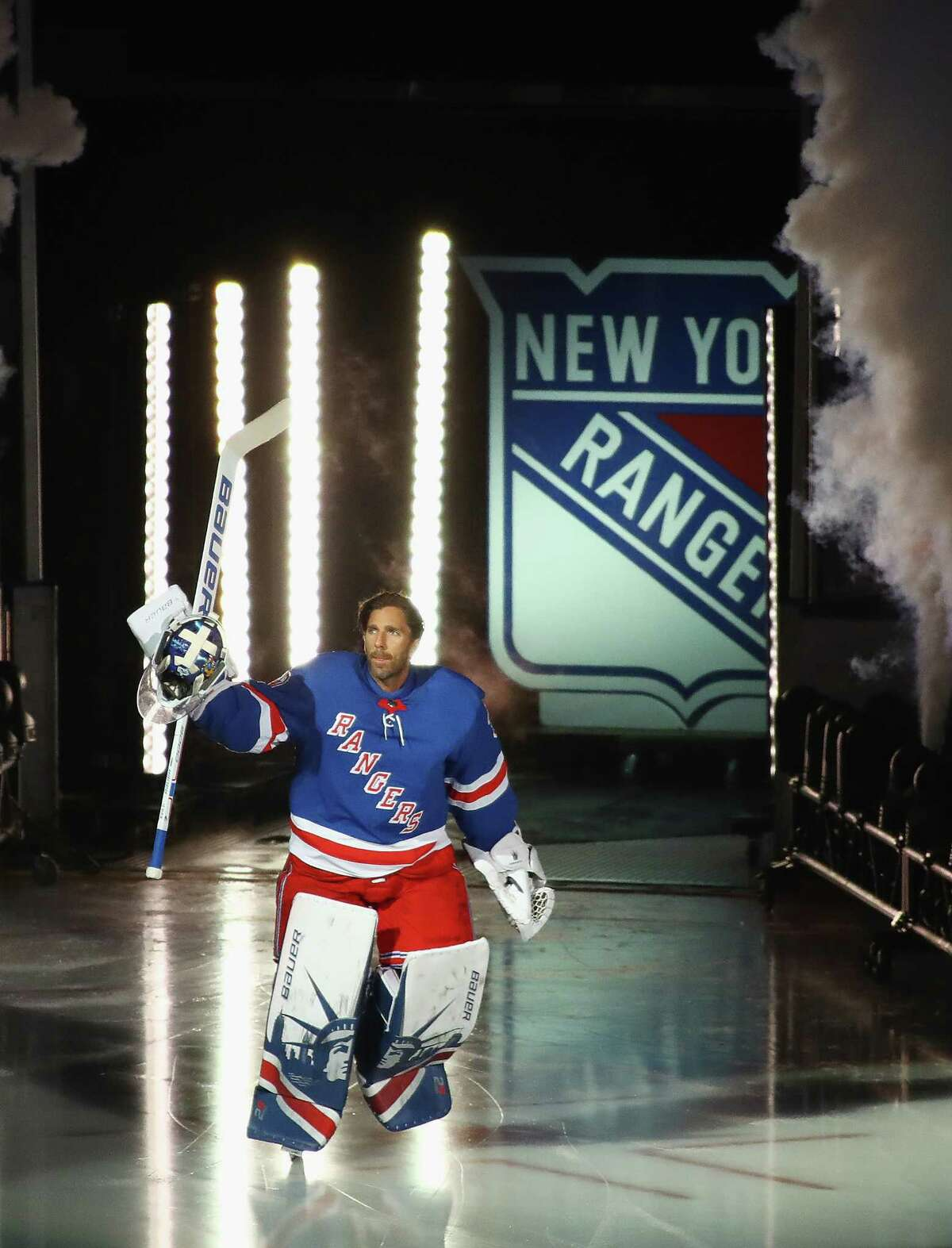 NEW YORK, NY - OCTOBER 05: Henrik Lundqvist #30 of the New York Rangers skates out prior to the game against the Colorado Avalanche at Madison Square Garden on October 5, 2017 in New York City. (Photo by Bruce Bennett/Getty Images) ORG XMIT: 775040573