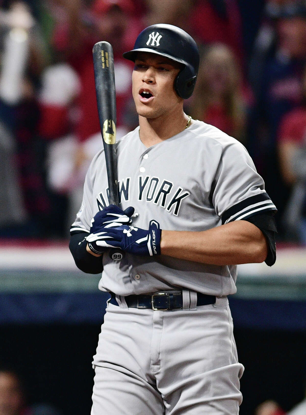 New York Yankees' Aaron Judge reacts after striking out against Cleveland Indians starting pitcher Trevor Bauer during the sixth inning of Game 1 of a baseball American League Division Series, Thursday, Oct. 5, 2017, in Cleveland.