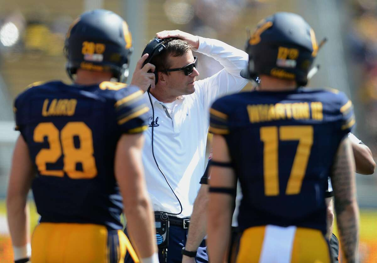 Cal head coach Justin Wilcox works the sidelines against Weber State in the first half at Memorial Stadium in Berkeley, Calif., on Saturday, Sept. 9, 2017. The host Golden Bears won, 33-20. (Dan Honda/Bay Area News Group/TNS)