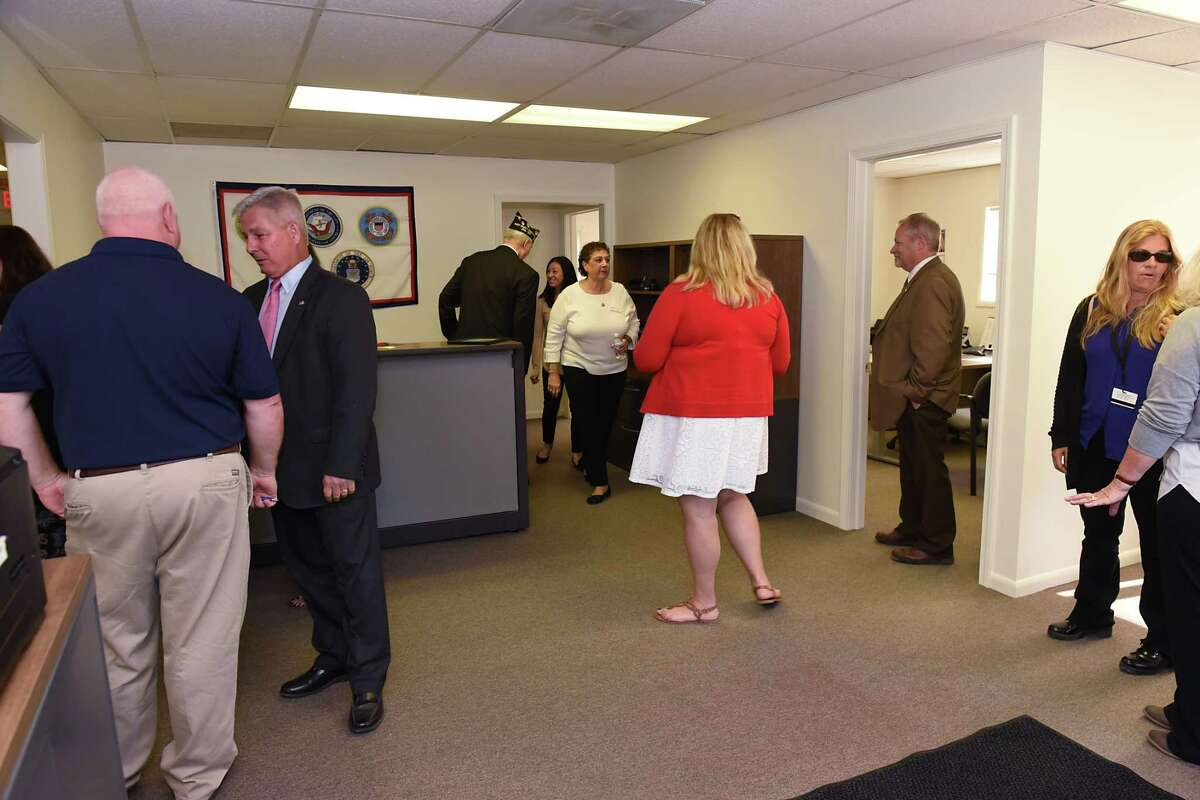 People take a tour of the newly opened Veterans Service Agency Facility on Monday, Oct. 2, 2017 in Ballston Spa, N.Y. Veterans will be able to access programs and services and get access to online Veterans Affairs information. (Lori Van Buren / Times Union)