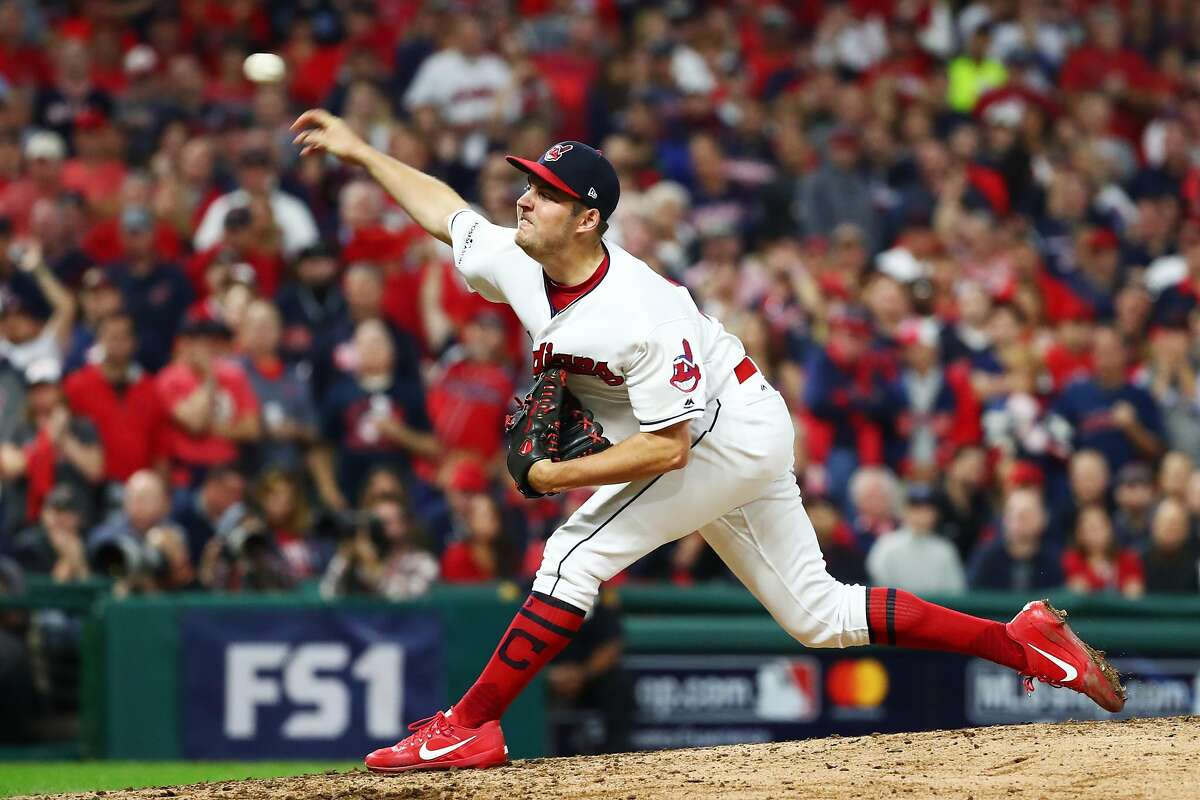 CLEVELAND, OH - OCTOBER 05: Trevor Bauer #47 of the Cleveland Indians delivers the pitch during the third inning against the New York Yankees during game one of the American League Division Series at Progressive Field on October 5, 2017 in Cleveland, Ohio. (Photo by Gregory Shamus/Getty Images)