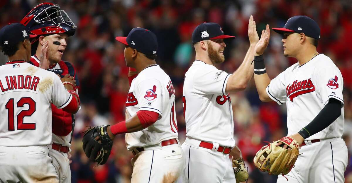 CLEVELAND, OH - OCTOBER 05: The Cleveland Indians celebrate their teams victory over the New York Yankees in game one of the American League Division Series at Progressive Field on October 5, 2017 in Cleveland, Ohio. The Cleveland Indians defeated the New York Yankees 4-0. (Photo by Gregory Shamus/Getty Images)