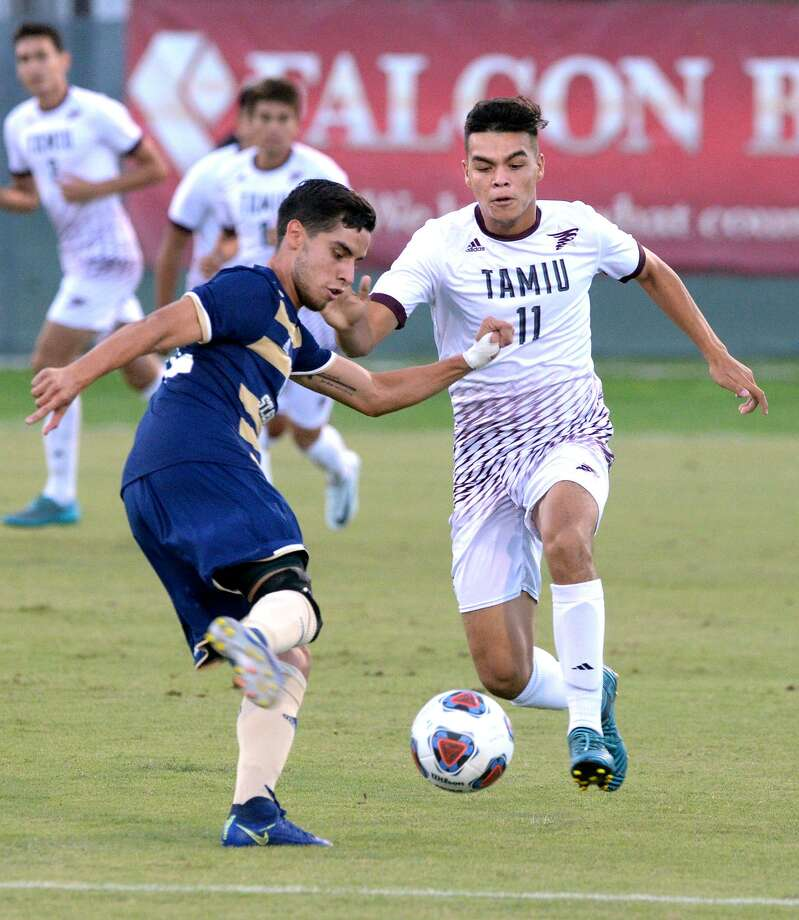 Dustdevils forward Elias Perales had an assist Thursday night as TAMIU beat No. 15 St. Edward's 2-1 for its first win over a ranked opponent at home in school history. Photo: Cuate Santos /Laredo Morning Times / Laredo Morning Times