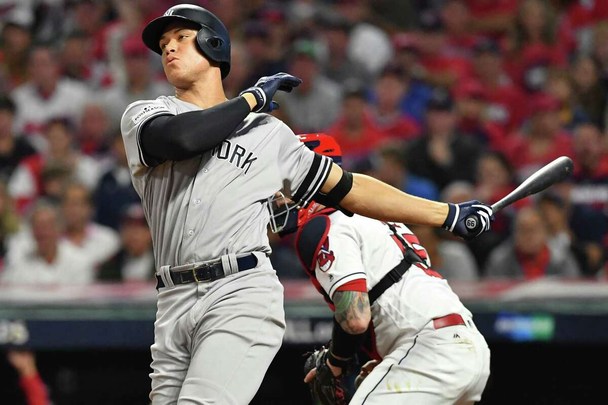 CLEVELAND, OH - OCTOBER 05: Aaron Judge #99 of the New York Yankees reacts after striking out during the sixth inning against the Cleveland Indians during game one of the American League Division Series at Progressive Field on October 5, 2017 in Cleveland, Ohio. (Photo by Jason Miller/Getty Images) ORG XMIT: 775053720
