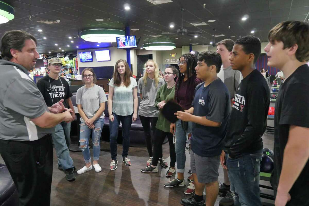 Coach Chris Desko and Kingwood High School Students trying out for the 2017-2018 Kingwood Bowling Team