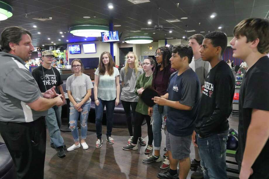 Coach Chris Desko and Kingwood High School Students trying out for the 2017-2018 Kingwood Bowling Team Photo: Anisha Virani