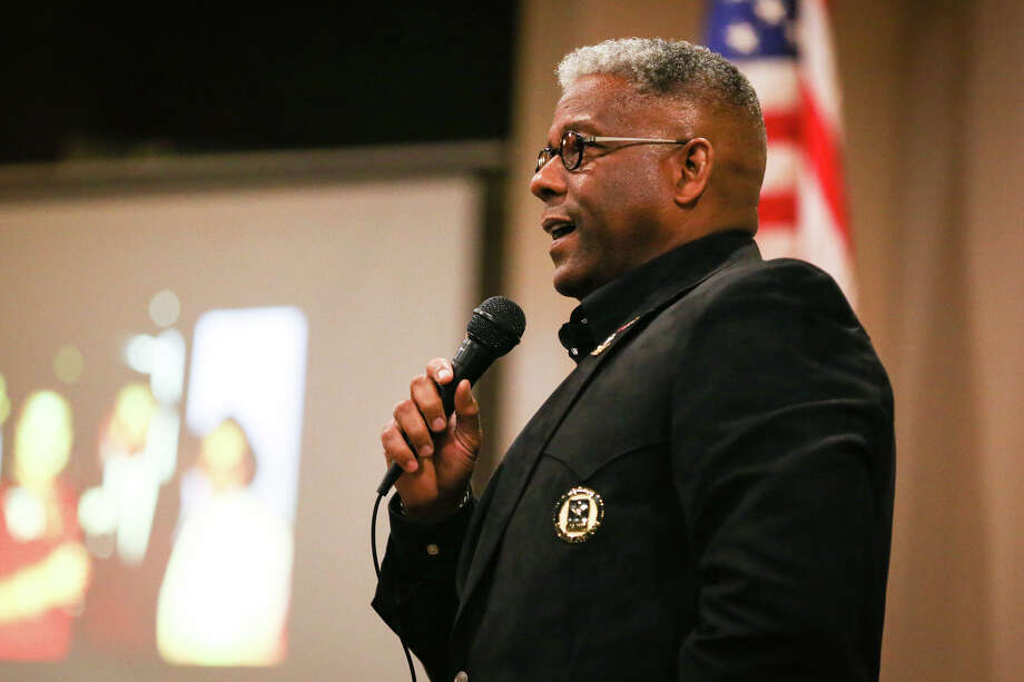 Allen West, a retired Army Lt. Col. and former U.S. Rep. of Florida, gives the keynote speech during the Montgomery County Republican Party's 65th Birthday Celebration on Sunday, Oct. 1, 2017, at the Waterpoint Premier Lakeside Venue. Photo: Michael Minasi, Staff Photographer / © 2017 Houston Chronicle