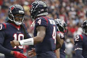 Houston Texans wide receiver DeAndre Hopkins (10) celebrates his touchdown with  quarterback Deshaun Watson (4) during the first quarter of an NFL football game at NRG Stadium, Sunday, Oct. 1, 2017, in Houston.   ( Karen Warren / Houston Chronicle )