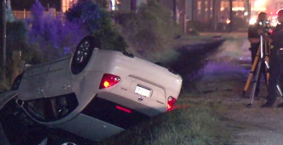 A man is dead after driving into a drainage ditch early Friday in northeast Harris County. (Metro Video) Photo: Metro Video