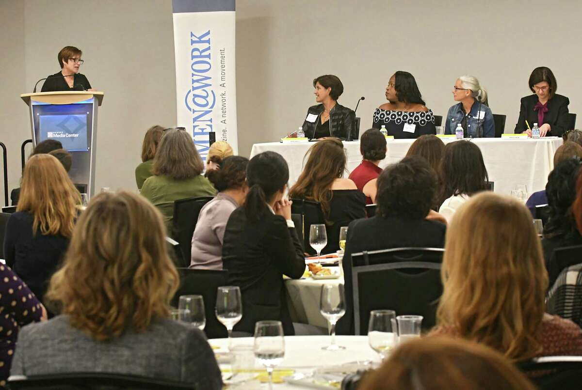 Susan Mehalick, Women@Work, left, moderates for a panel for a discussion for Women@Work summit follow up at the Hearst Media Center on Thursday, Oct. 5, 2017 in Colonie, N.Y. The panel consisted of from left, Georgia Kelly, Merrill Lynch Wealth Management, Kymlee Dorsey, STYLE Wellness and Hair Studio, Eve Waltermaurer, Benjamin Center, SUNY New Paltz, and Denise Gonick, MVP Health Care. (Lori Van Buren / Times Union)