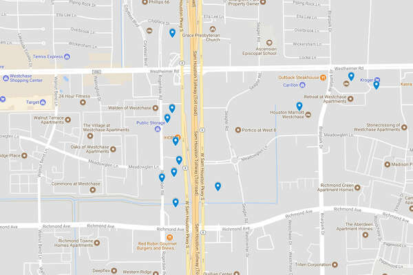 Map shows areas with high prosution arrests at Houston hotels ... on